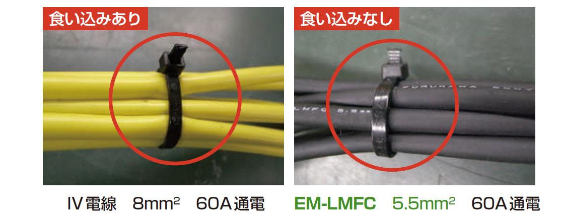 耐熱温度110℃:60A通電による変形、融着、インシュロックの食い込みはありません。