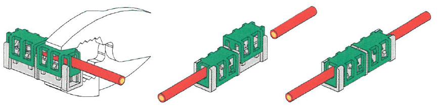 コネクタの左右からそれぞれ電線の被覆をむかず挿入しプライヤーで圧接します。(2ヶ所圧接)