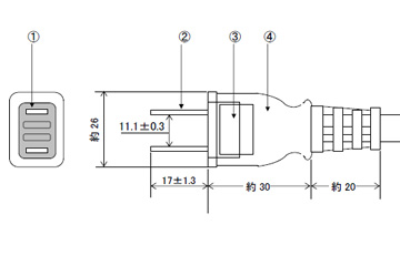 プラグ付電源コード 15A(12A可)125V2P