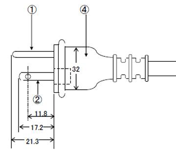 防雨型プラグ付電源コード 7A125V2P+E